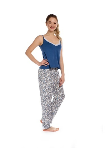Pamuk & Pamuk Dantelli Şal Desen Kadın Pijama Takım Renkli